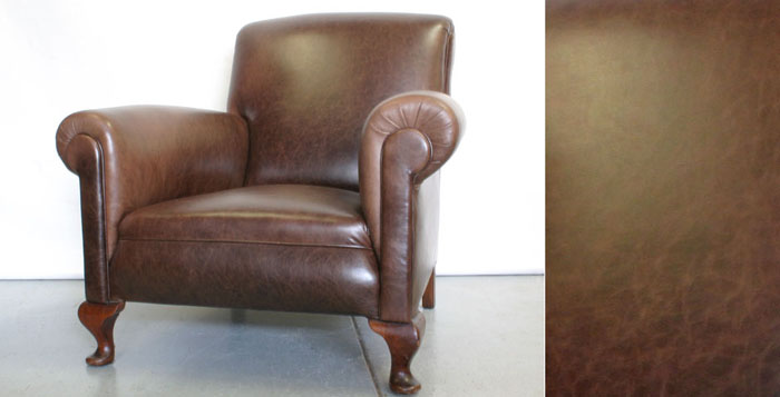 Deco club chair recovered in leather from Leffler
