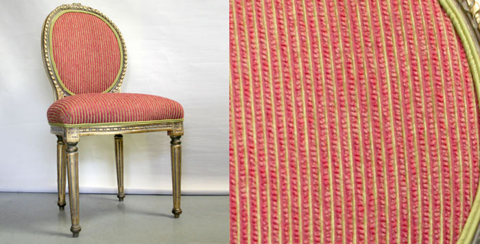 Gilded occasional chair in Manilla Fuchsia and Electra Celery from Hoad Fabrics.