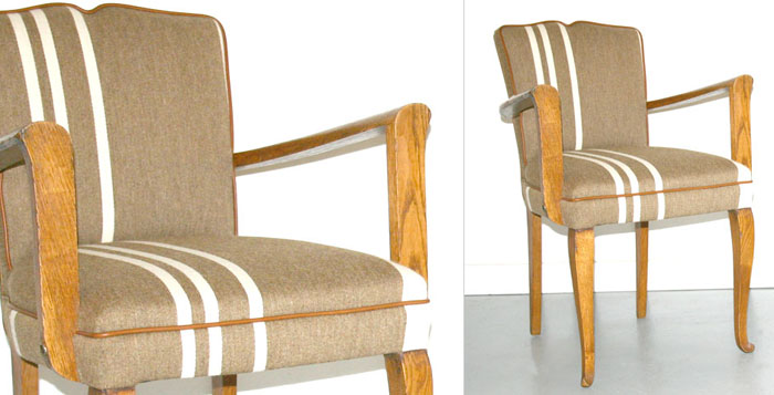 Art Deco Furniture: Pair of French oak bridge chairs c.1930 in James Richardson Savak with leather tAntique Furniture: Art Deco Furniture: Pair of French oak bridge chairs c.1930 in James Richardson Savak with rim for Geoffrey Hatty Applied Arts