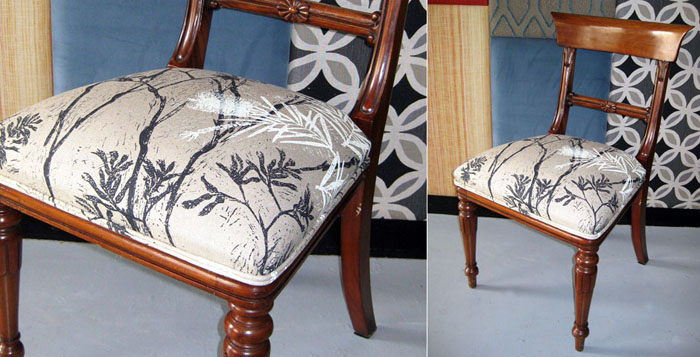 Victorian mahogany dining chair recovered in Cloth fabric from Safari Living