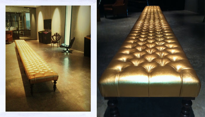 Custom Furniture six meter gold ottoman