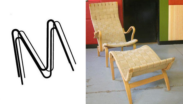 bruno mathesson arm chair and stool