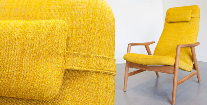 Re upholstered 1950s Danish beech chair by Alf Svenson in fabric by Kvadrat